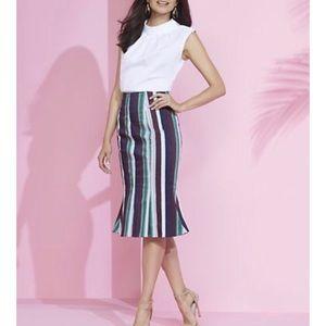 Striped trumpet mermaid skirt